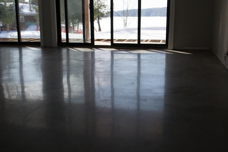 Basement polished concrete floor